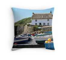 Cadgwith Harbour Throw Pillow