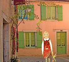 """Meg, bongo and bunny""Streetscape in France. by Mary Taylor"