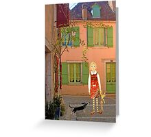 """""""Meg, bongo and bunny""""Streetscape in France. Greeting Card"""