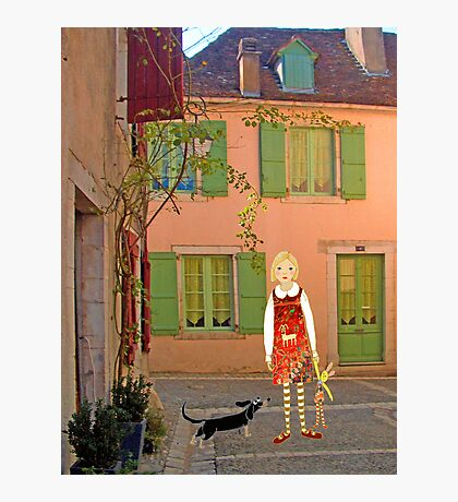 """Meg, bongo and bunny""Streetscape in France. Photographic Print"