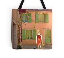 """Meg, bongo and bunny""Streetscape in France. Tote Bag"