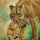 Lioness And Cub by Margaret Stockdale