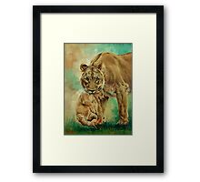 Lioness And Cub Framed Print