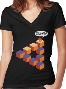 Q*bert's Conundrum Women's Fitted V-Neck T-Shirt