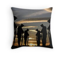 Silhouette of soldiers against a peacfull sunset Throw Pillow