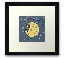 Mouse gnaws the moon made of cheese Framed Print