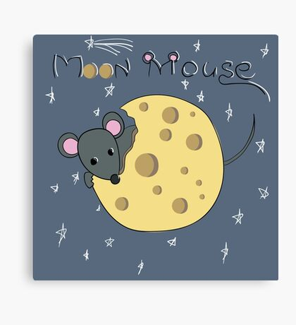 Mouse gnaws the moon made of cheese Canvas Print