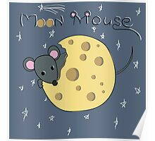 Mouse gnaws the moon made of cheese Poster