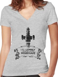 I Solemnly Swear That I Aim To Misbehave...Again Women's Fitted V-Neck T-Shirt