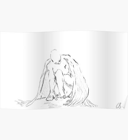fallen angel pencil & ink sketch Poster