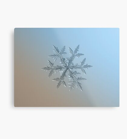 Asymmetriad, snowflake macro photo Metal Print