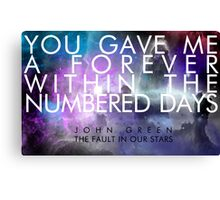 Forever Quote - The Fault in Our Stars Canvas Print