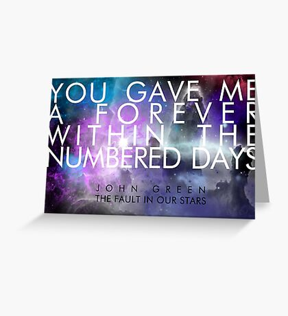 Forever Quote - The Fault in Our Stars Greeting Card