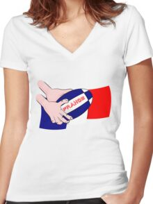 France Rugby Ball Flag Women's Fitted V-Neck T-Shirt