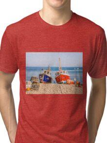 Fishing Boats On Beach Tri-blend T-Shirt
