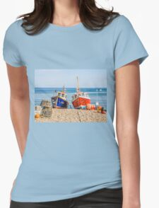 Fishing Boats On Beach Womens Fitted T-Shirt