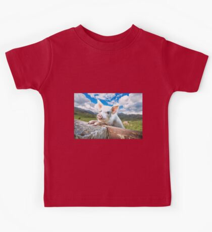 Cute White Pig Looking Over Wall Kids Tee
