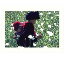 Mien woman and baby slitting opium poppy Art Print