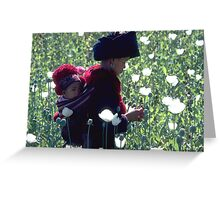 Mien woman and baby slitting opium poppy Greeting Card
