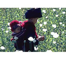 Mien woman and baby slitting opium poppy Photographic Print