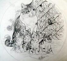 Mum and kittens by Robert David Gellion
