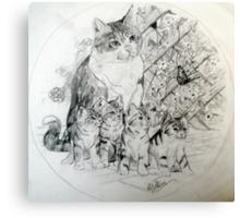 Mum and kittens Canvas Print