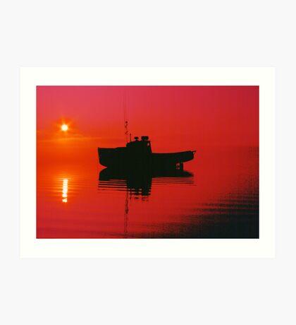 Cape Islander fishing boat at sunrise Art Print