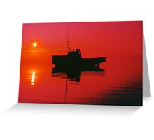 Cape Islander fishing boat at sunrise Greeting Card