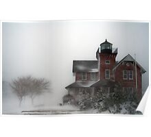 Seat Girt lighthouse during winter storm Poster