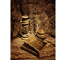 Books, lamp and Teapot Photographic Print