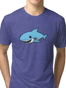 Cute blue shark cartoon Tri-blend T-Shirt