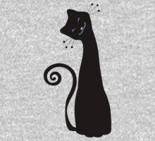 Black Cheerful Cat Vector Art Kids Clothes
