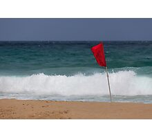 Red flag No Swimming Photographic Print