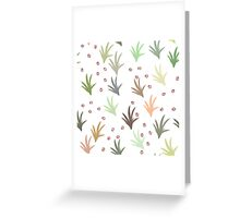 Cat tracks through tufts of grass on white Greeting Card