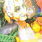 self portrait with fruit sculpture by Gema Sharpe