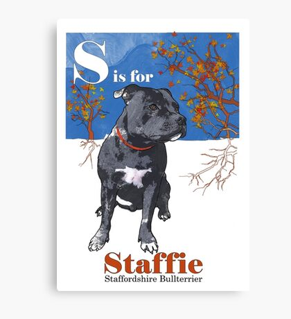 S is for Staffie Canvas Print