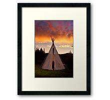 Indian Teepee Sunset Vertical Image Framed Print