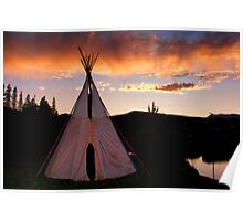Indian Teepee Sunset   Poster
