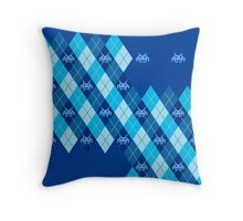 Space Intruders Argyle Pattern Throw Pillow