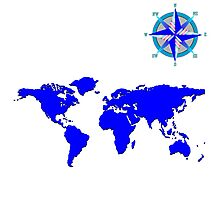 blue world mad with wind rose Photographic Print