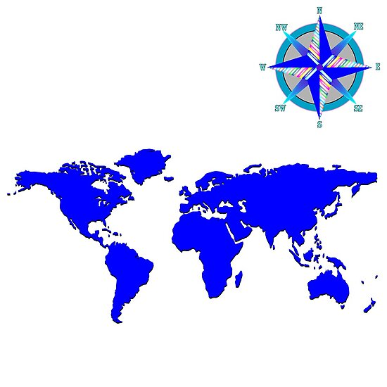 blue world mad with wind rose by Laschon Robert Paul