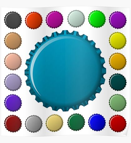 Bottle caps in colors collection Poster