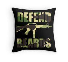 DEFEND BEARDS Throw Pillow