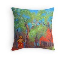 """""""The Bear's House"""", little house in the woods. Throw Pillow"""
