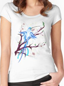 Bird and Cherry Blossoms Women's Fitted Scoop T-Shirt
