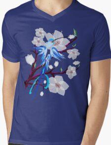 Bird and Cherry Blossoms Mens V-Neck T-Shirt