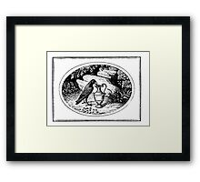 CROW STEALING A DRINK Framed Print