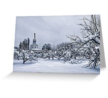 Snowy walk through the old exhibition Greeting Card