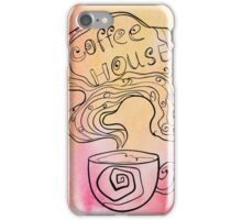 Coffee house doodling on watercolor background. iPhone Case/Skin