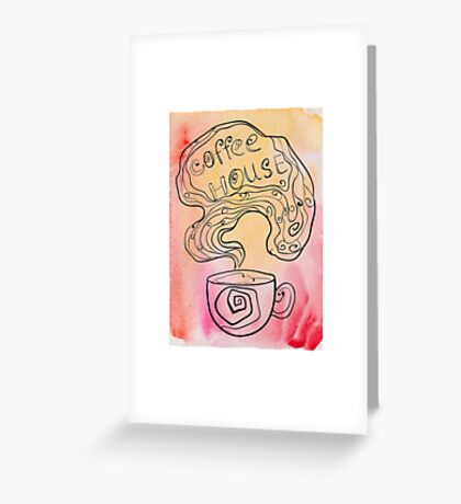 Coffee house doodling on watercolor background. Greeting Card